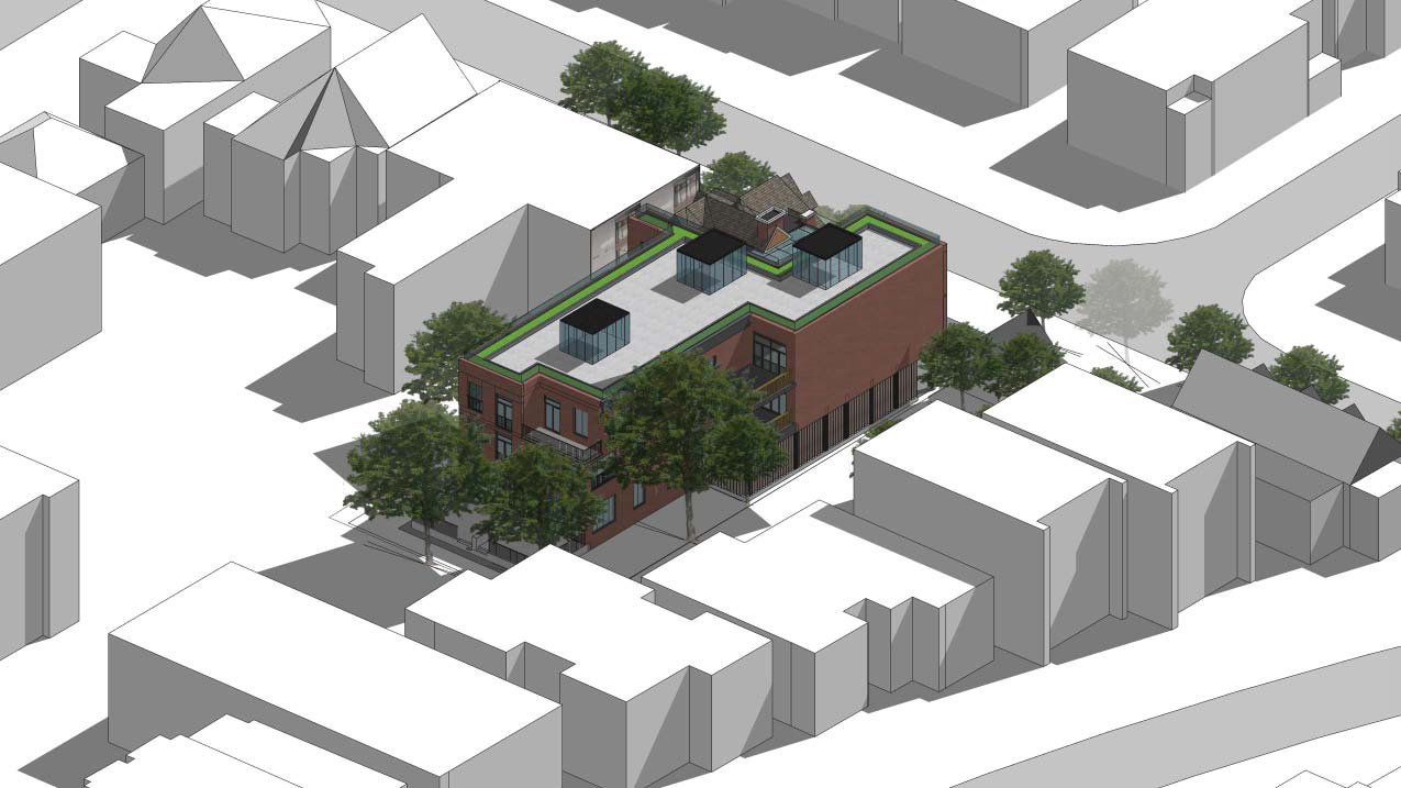 Aerial back-facing rendering of 101 Heath Street Condos.