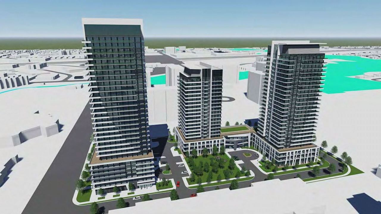 Rendering of 1221 Markham Road Condos exterior 3-towers