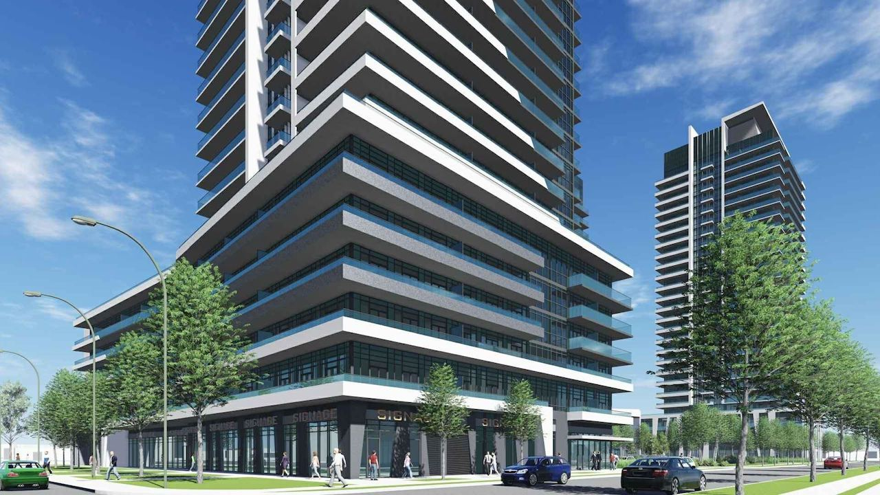 Rendering of 1221 Markham Road Condos exterior podium and streetscape.