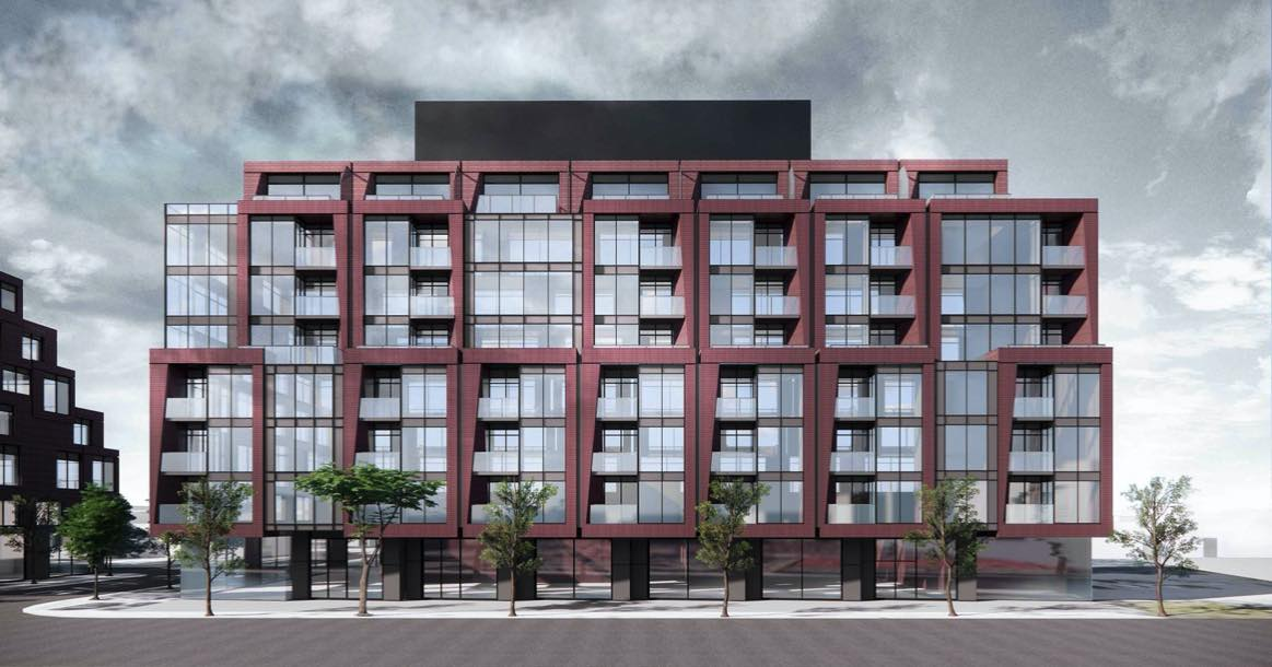 Front exterior rendering of 126 Laird Condos in East York, Toronto