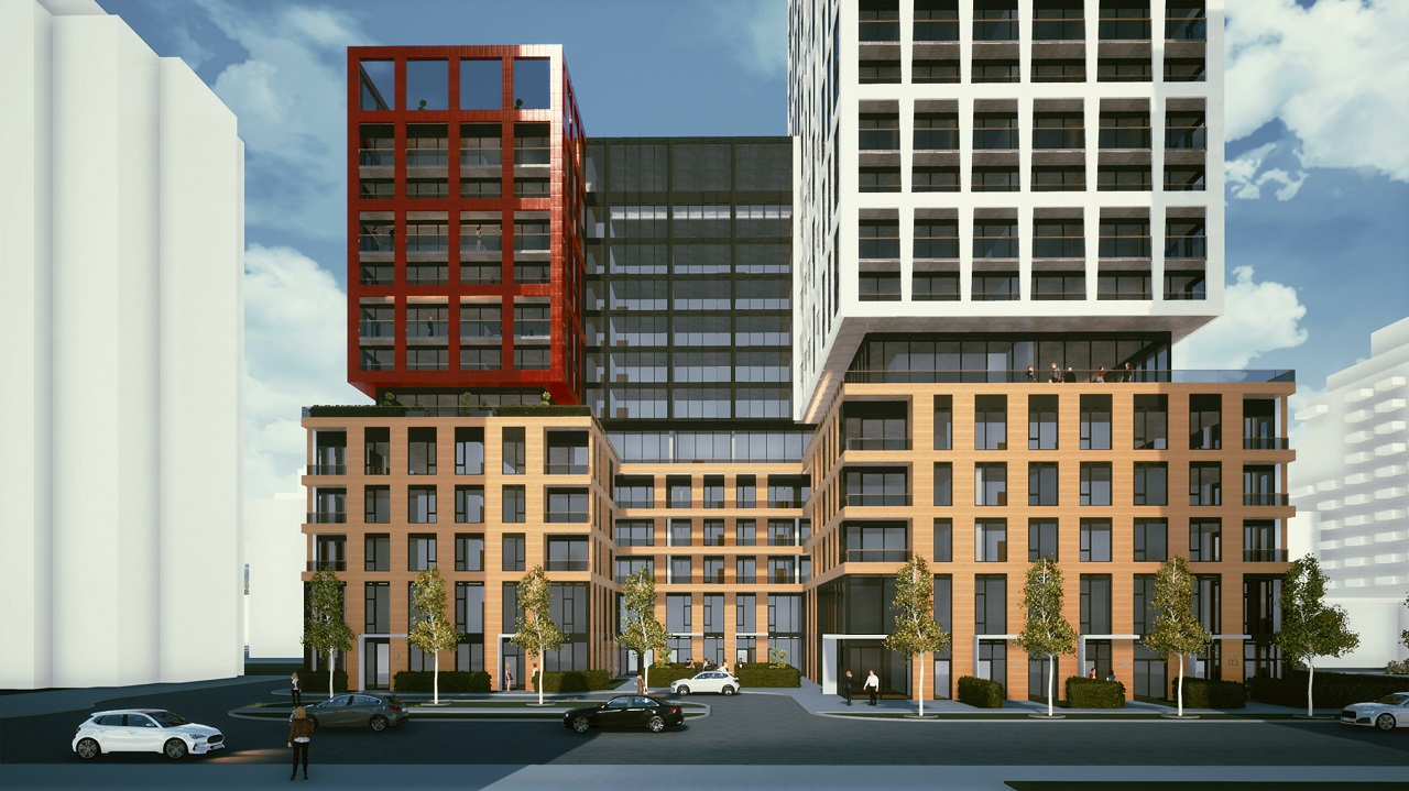Partial front-facing exterior rendering of 155 Balliol Condos in Toronto.