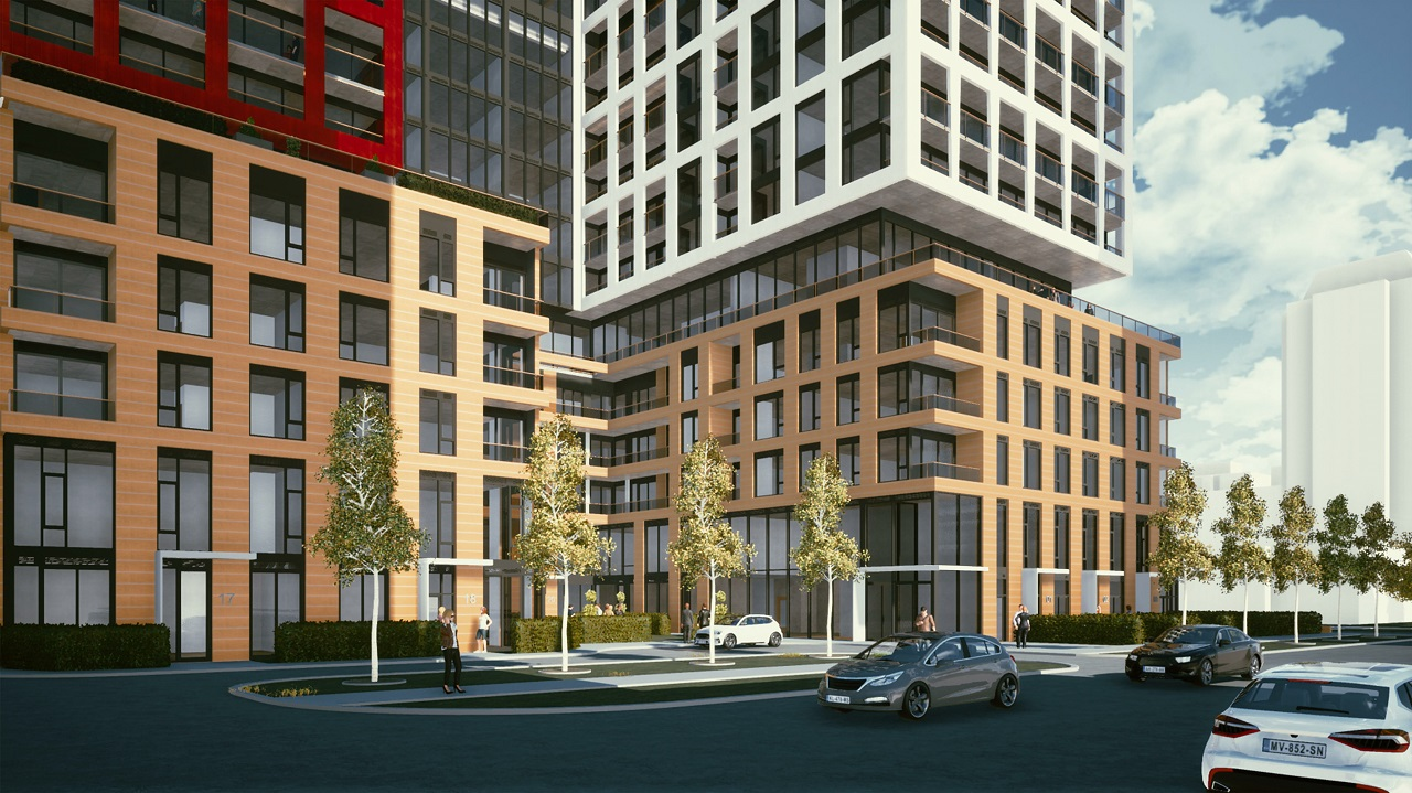 Partial side-view exterior rendering of 155 Balliol Condos in Toronto.