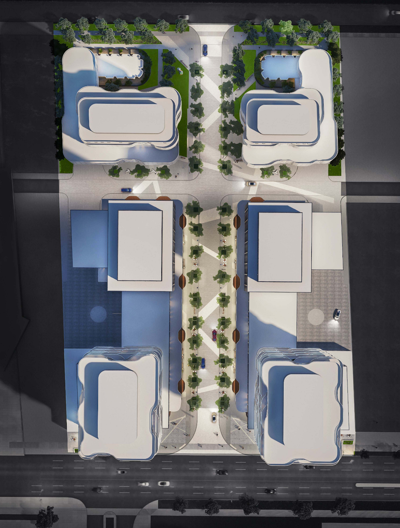 Aerial rendering of 180 Steeles Avenue West Condos with 6 condo towers.