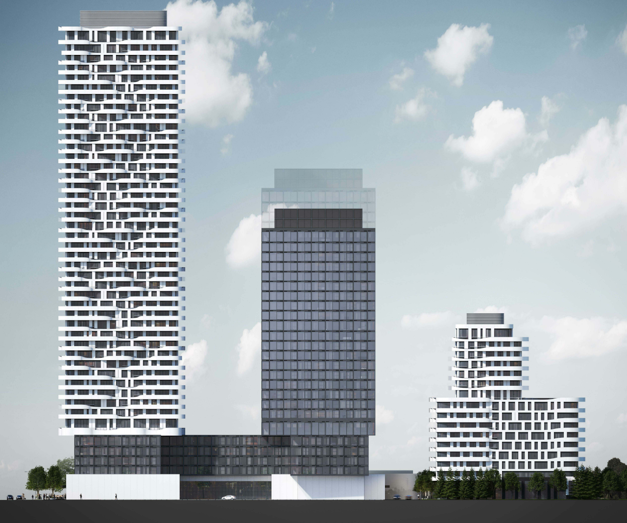 Side view of 180 Steeles Avenue West Condos for height comparison.