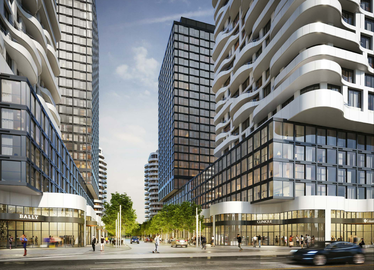 Rendering of 180 Steeles Avenue West Condos streetscape with ground-level retail.