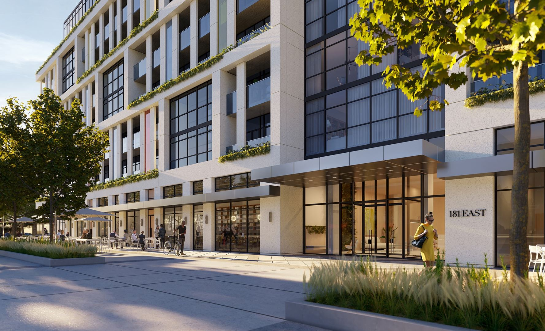 Rendering of 181 East Condos exterior entrance.