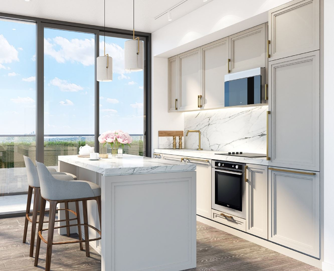 Rendering of 181 East Condos suite interior kitchen.