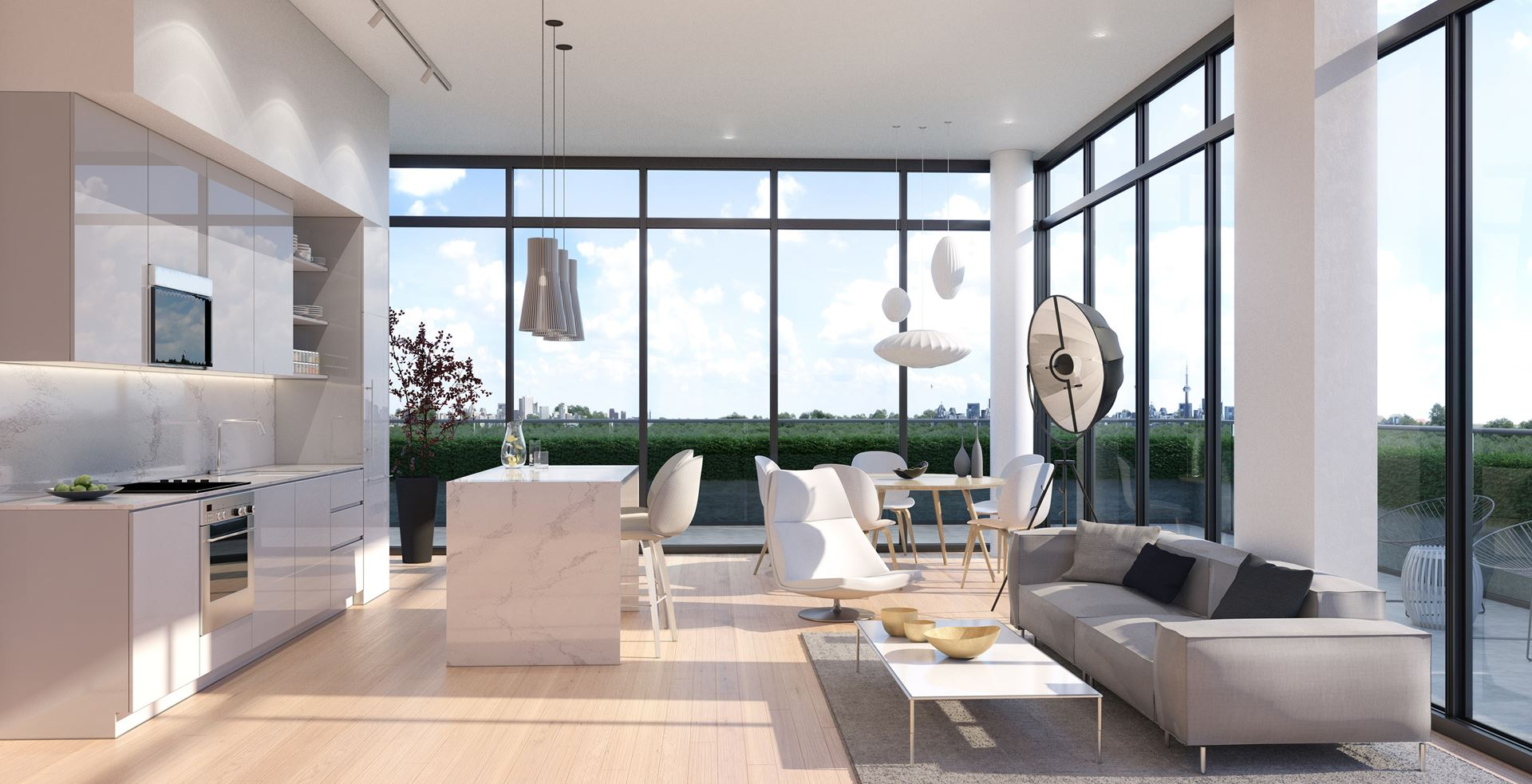 Rendering of 181 East Condos interior suite living area open concept.