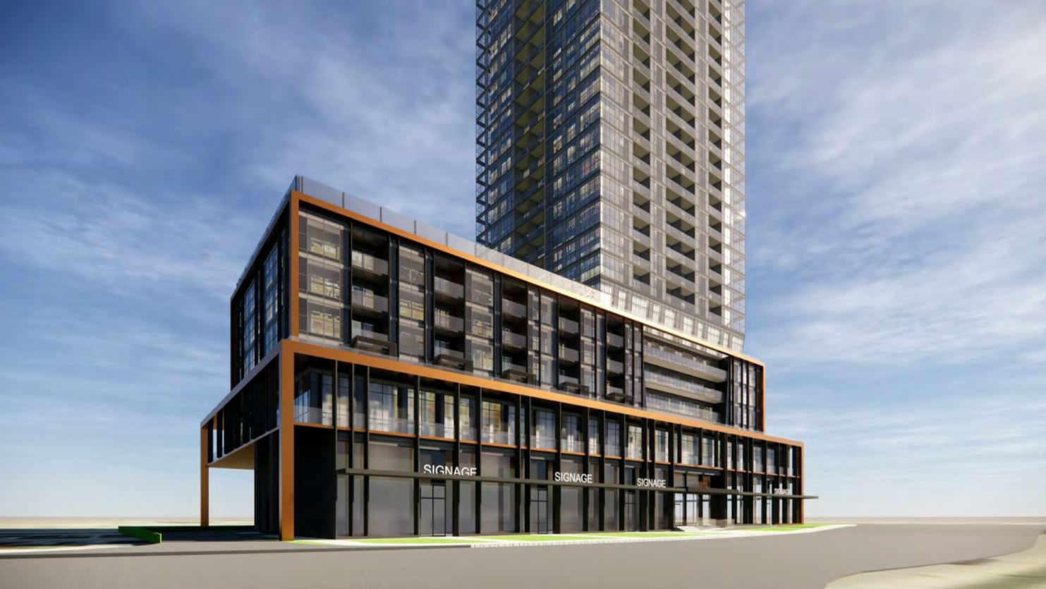 Rendering of 1910 Eglinton East Condos podium and streetscape.