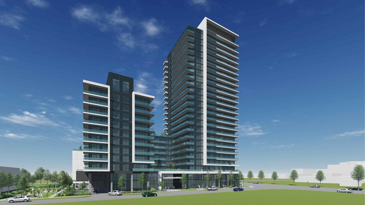 Full building exterior rendering of 2699 Keele Street Condos in Toronto.