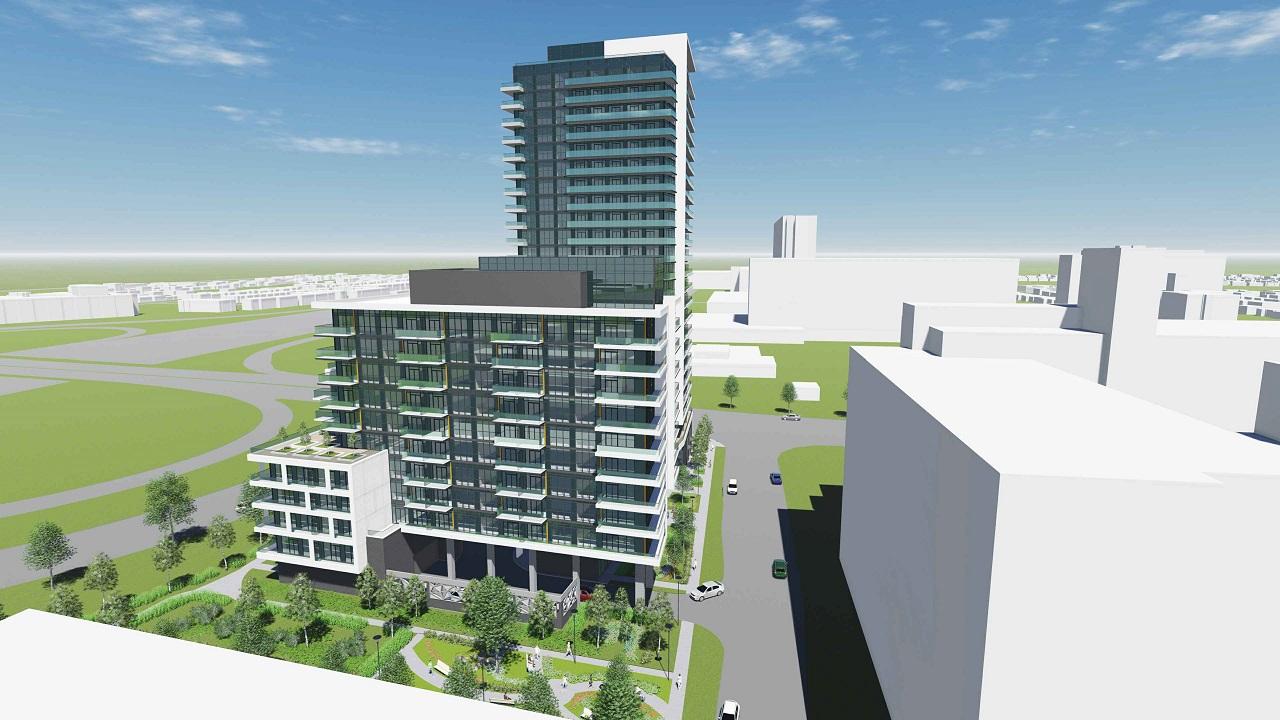 Aerial rendering of 2699 Keele Street Condos side 2 exterior.
