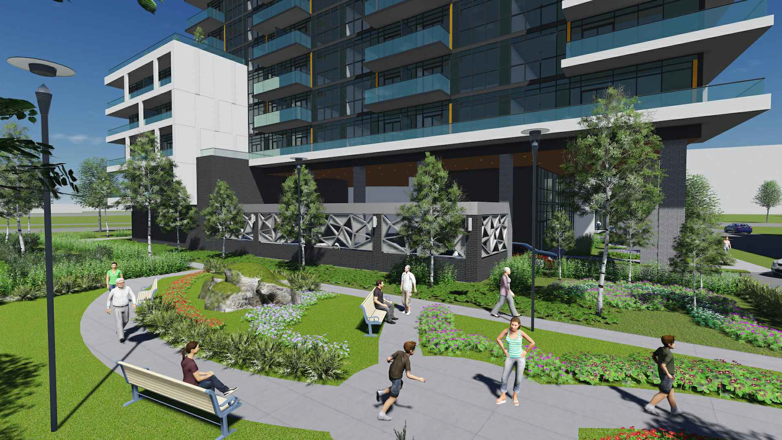 Rendering of 2699 Keele Street Condos garden and courtyard.