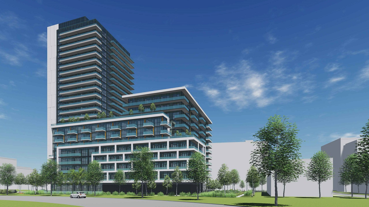 Rendering of 2699 Keele Street Condos exterior side view and greenery.