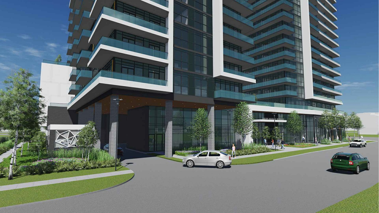 Rendering of 2699 Keele Street Condos building exterior and parking garage entry.