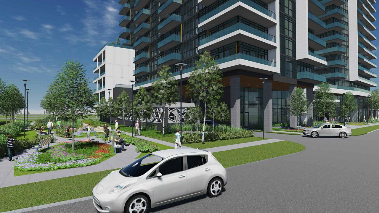 Rendering of 2699 Keele Street Condos streetscape and building exterior.