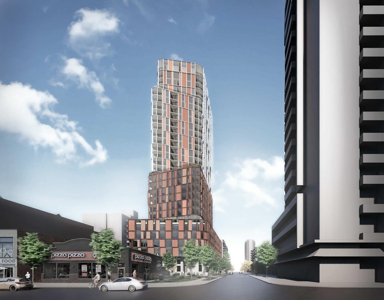 Full exterior rendering of 32 Raglan Avenue Condos in York, Toronto.
