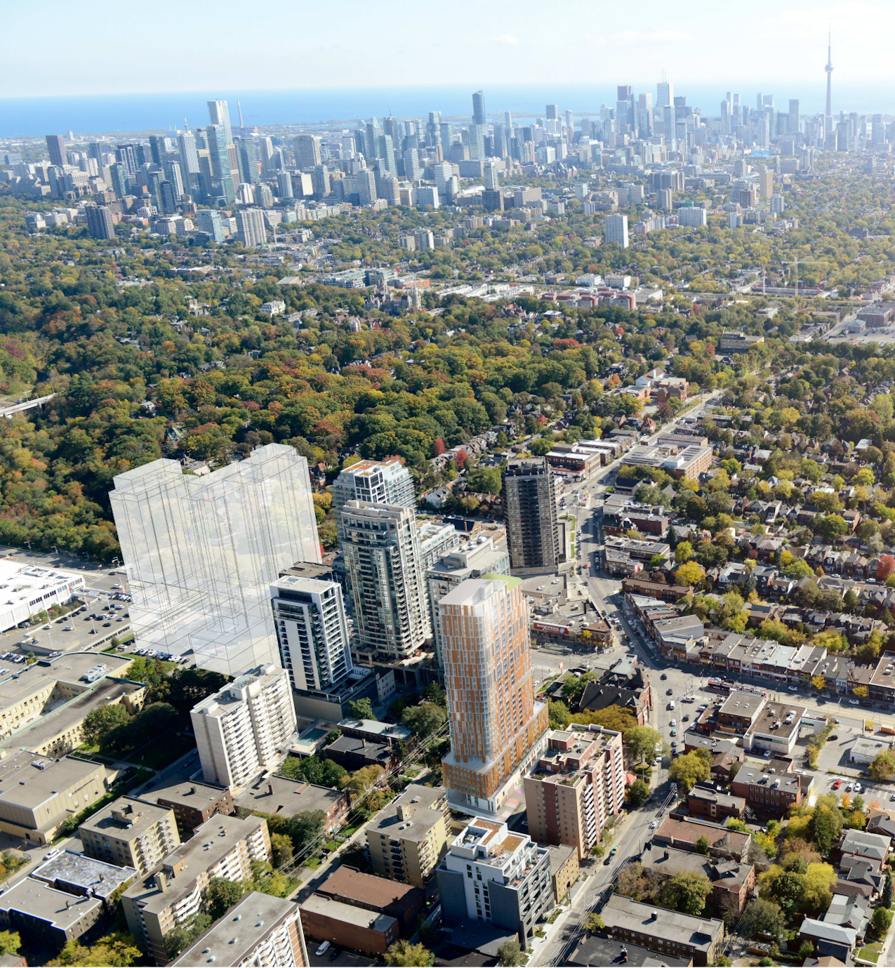 Aerial rendering of 32 Raglan Avenue Condos in York, Toronto.