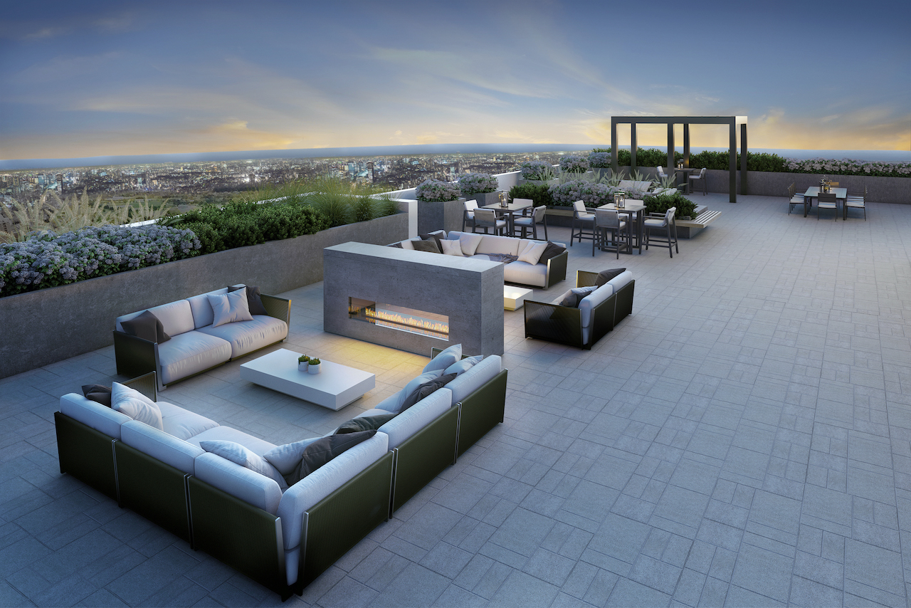 Rendering of The Butler Condos 2nd rooftop terrace in the evening.