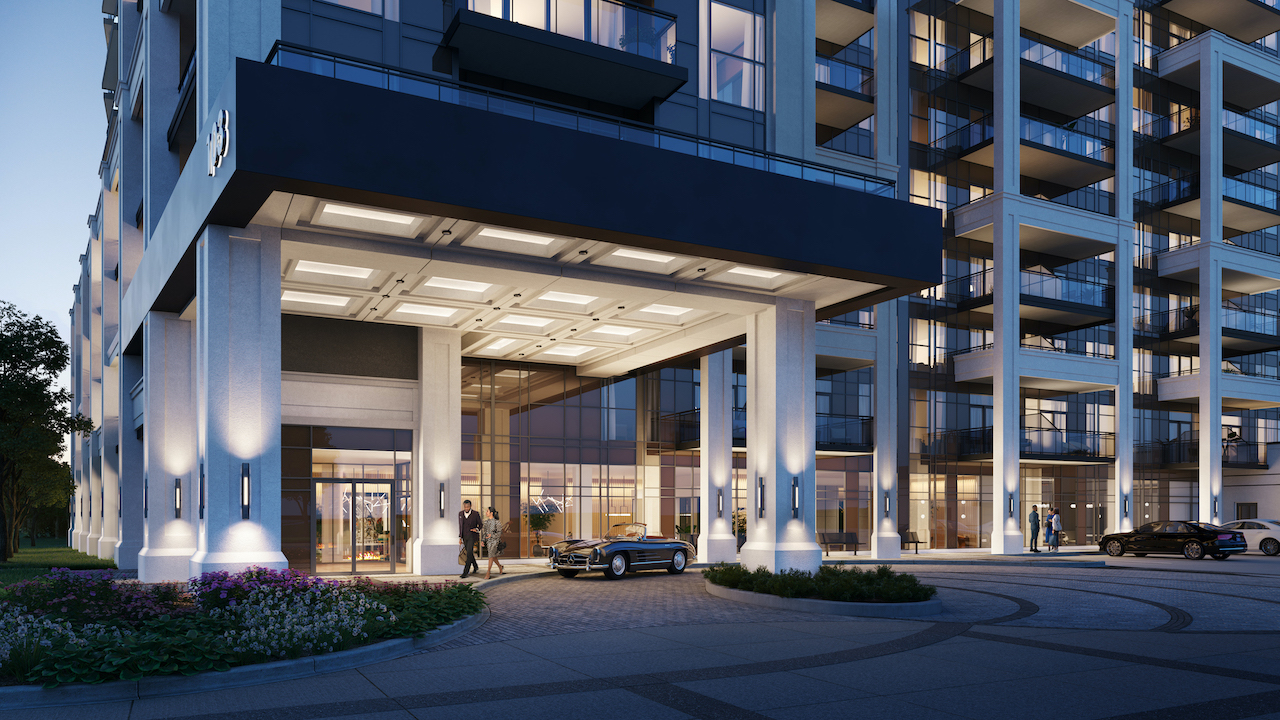 Rendering of The Butler Condos building exterior entrance.