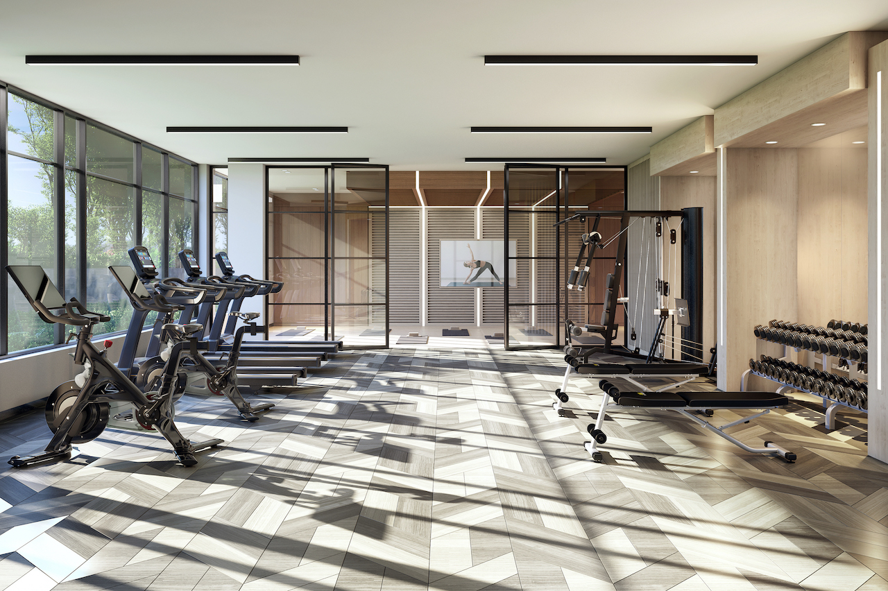 Rendering of The Butler Condos exercise area.