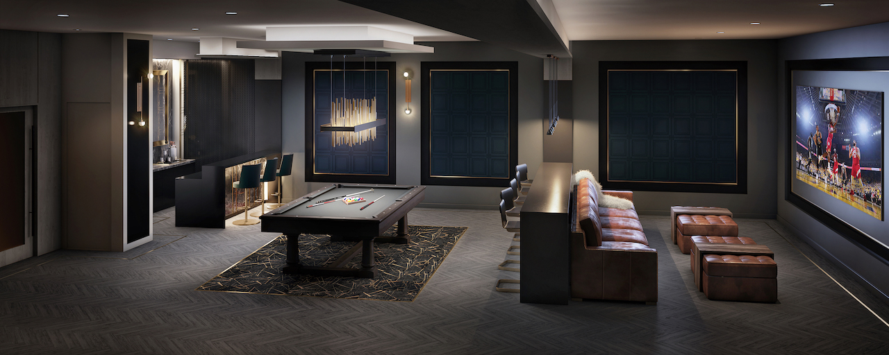 Rendering of The Butler Condos games rooms.