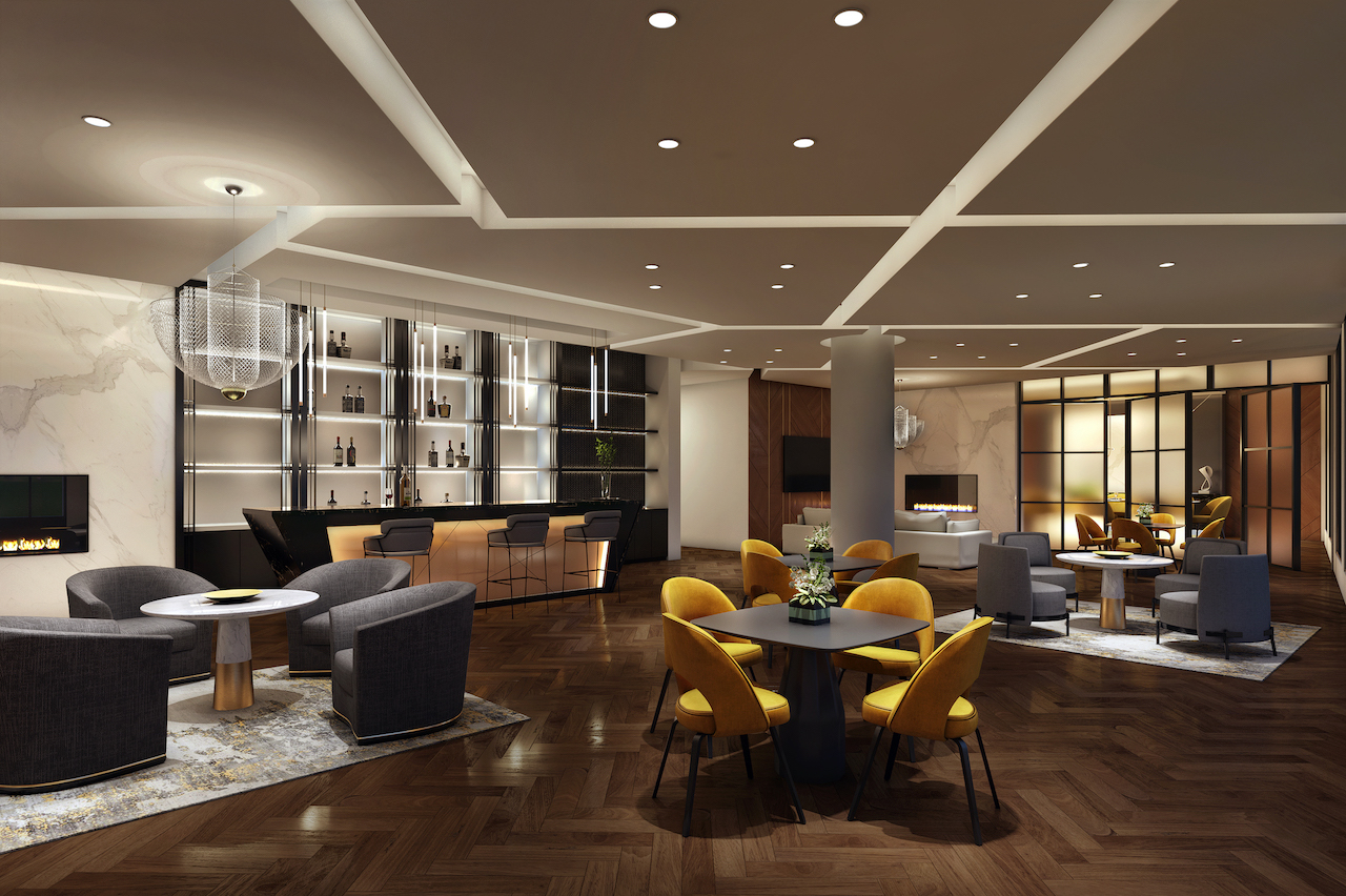 Rendering of The Butler Condos party room.