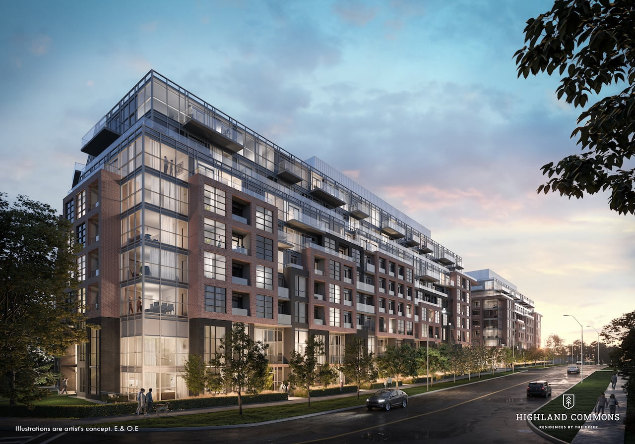 Rendering of Highland Commons exterior in the evening