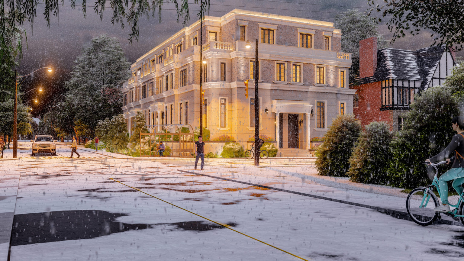 Rendering of Hillhurst Towns exterior in the winter.