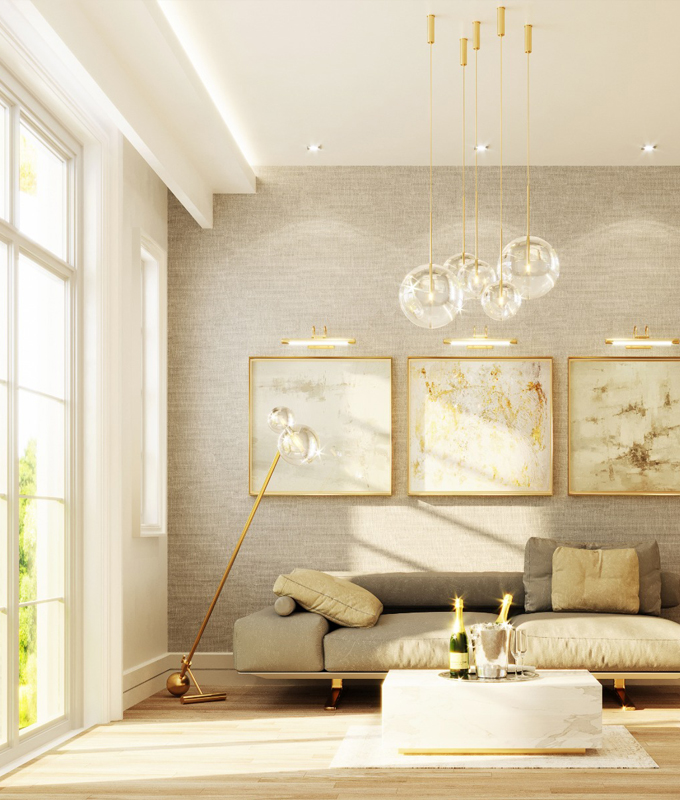 Rendering of Hillhurst Towns interior living room.