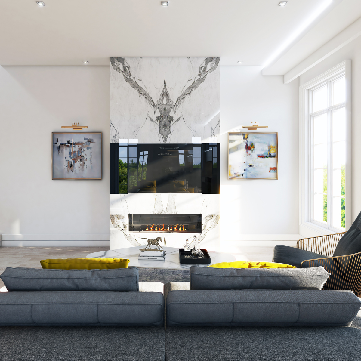 Rendering of Hillhurst Towns interior modern living room design.