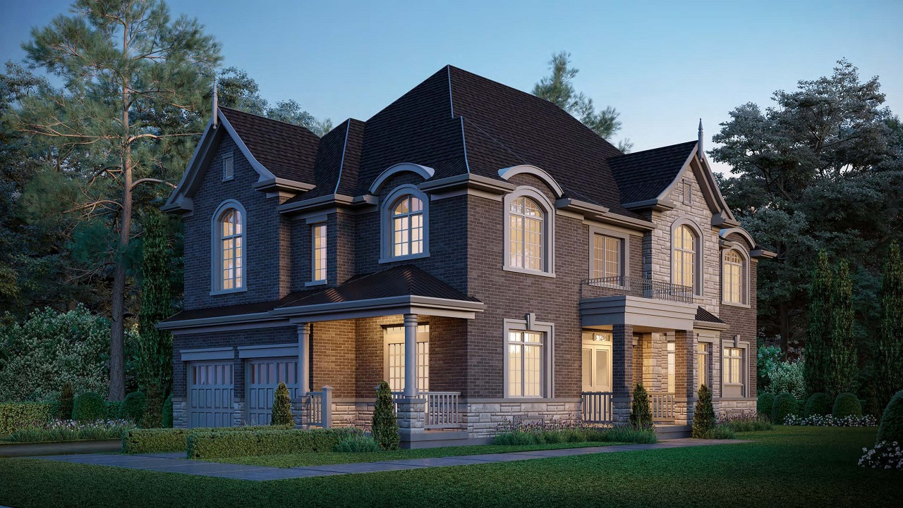 Exterior rendering of King East Estates detached home at night.