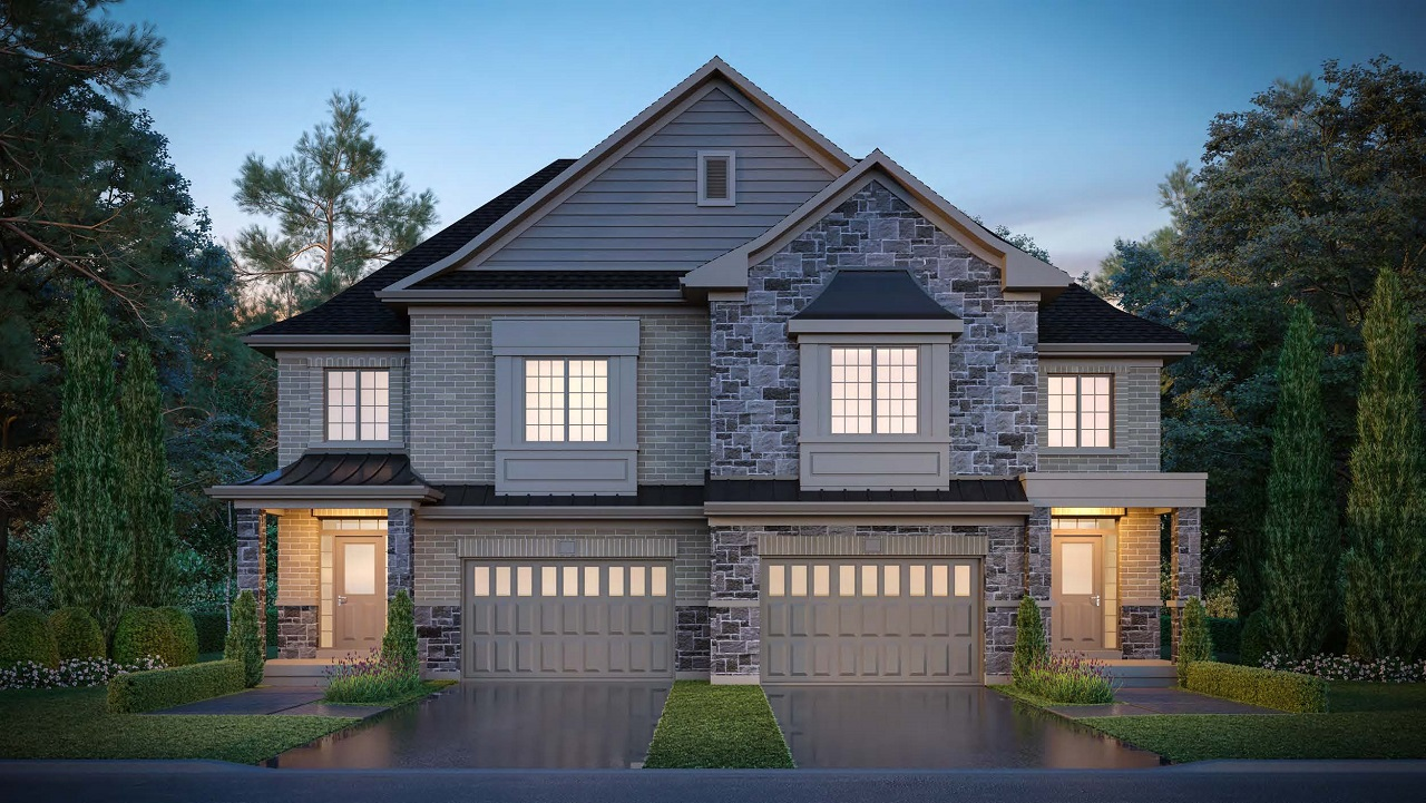 Exterior rendering of King East Estates semi-detached home at night.