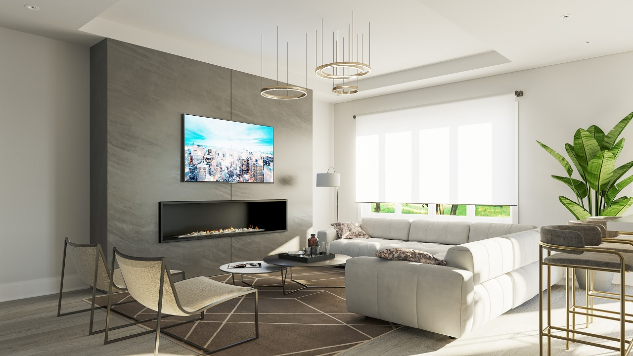 Interior rendering of King East Estates suite living room.
