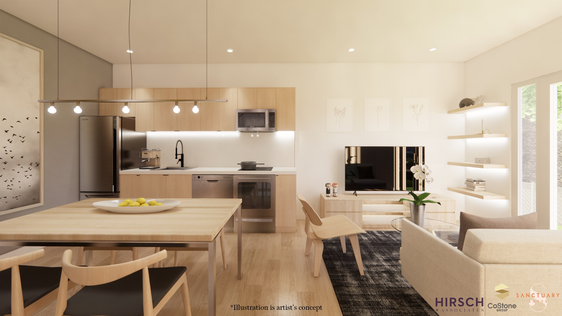Rendering of Sanctuary Lofts interior open-concept living and dining room.