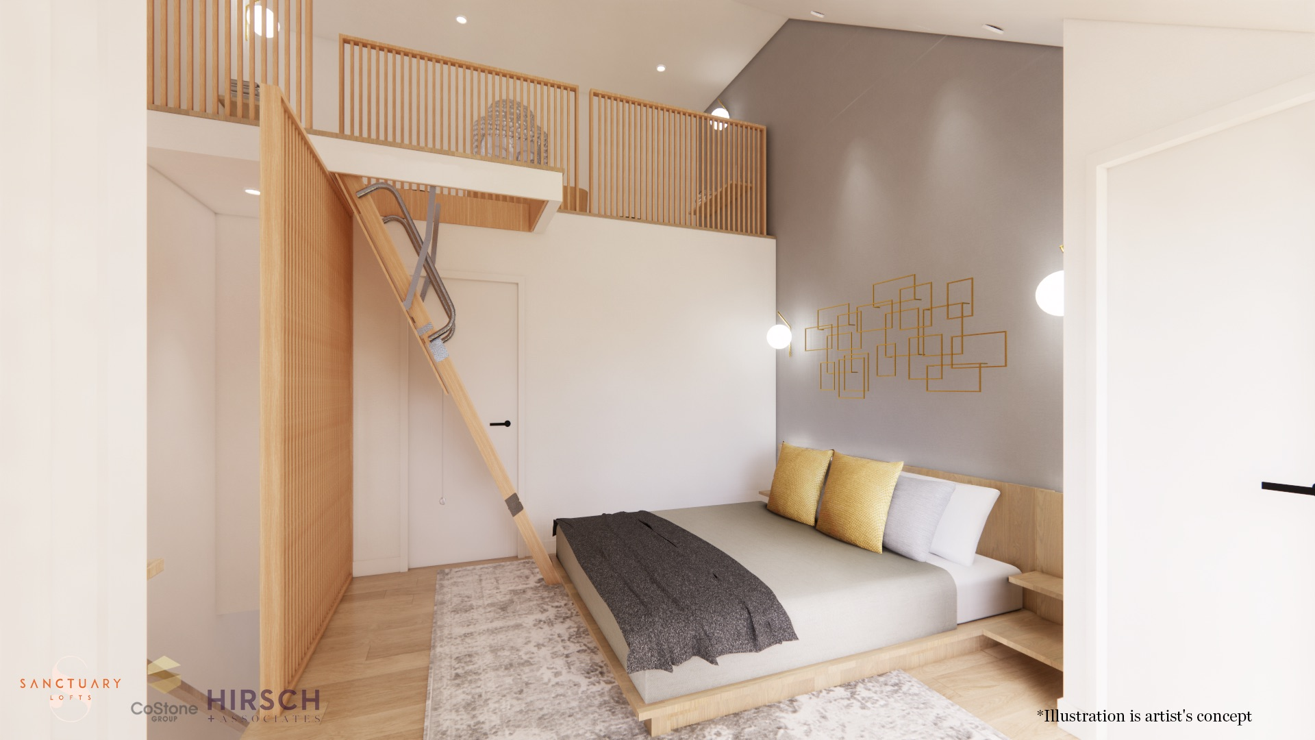 Rendering of Sanctuary Lofts interior master bedroom with stairs.