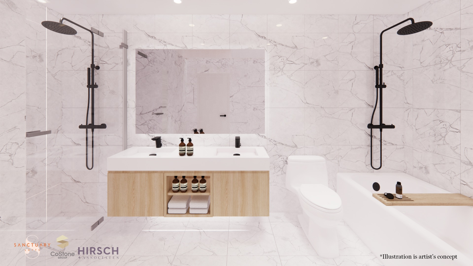 Rendering of Sanctuary Lofts interior washroom.