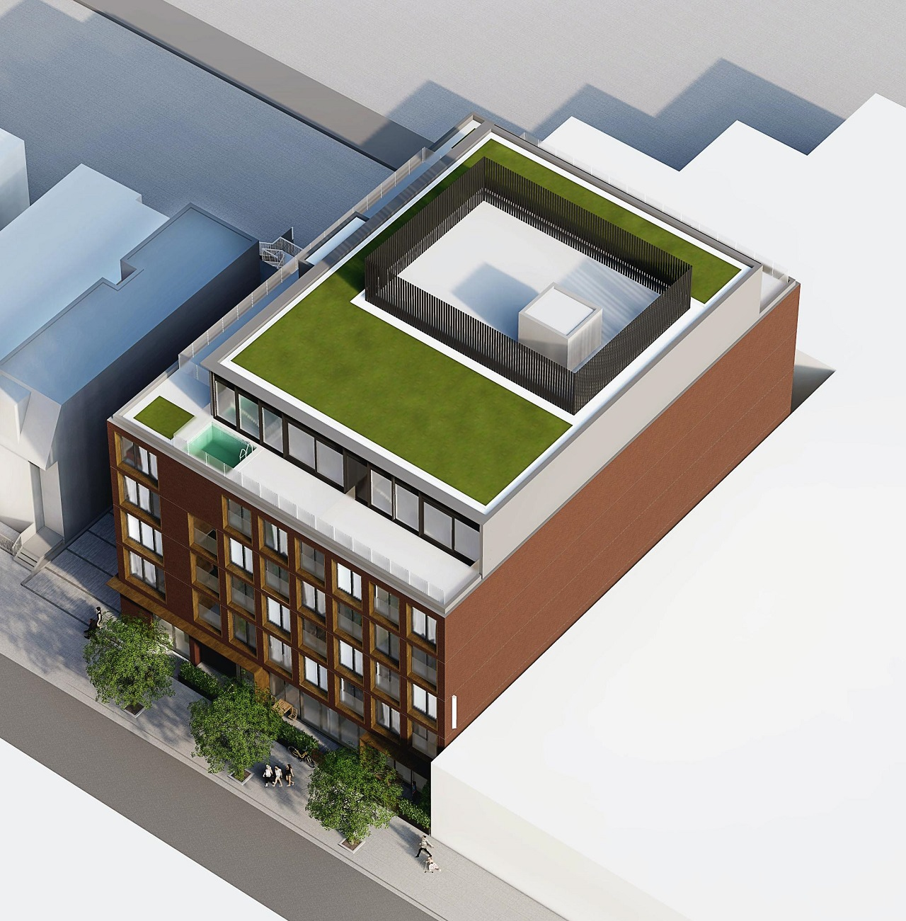 Exterior rendering of The Brickhouse on Gladstone Condos aerial close up of sideview.