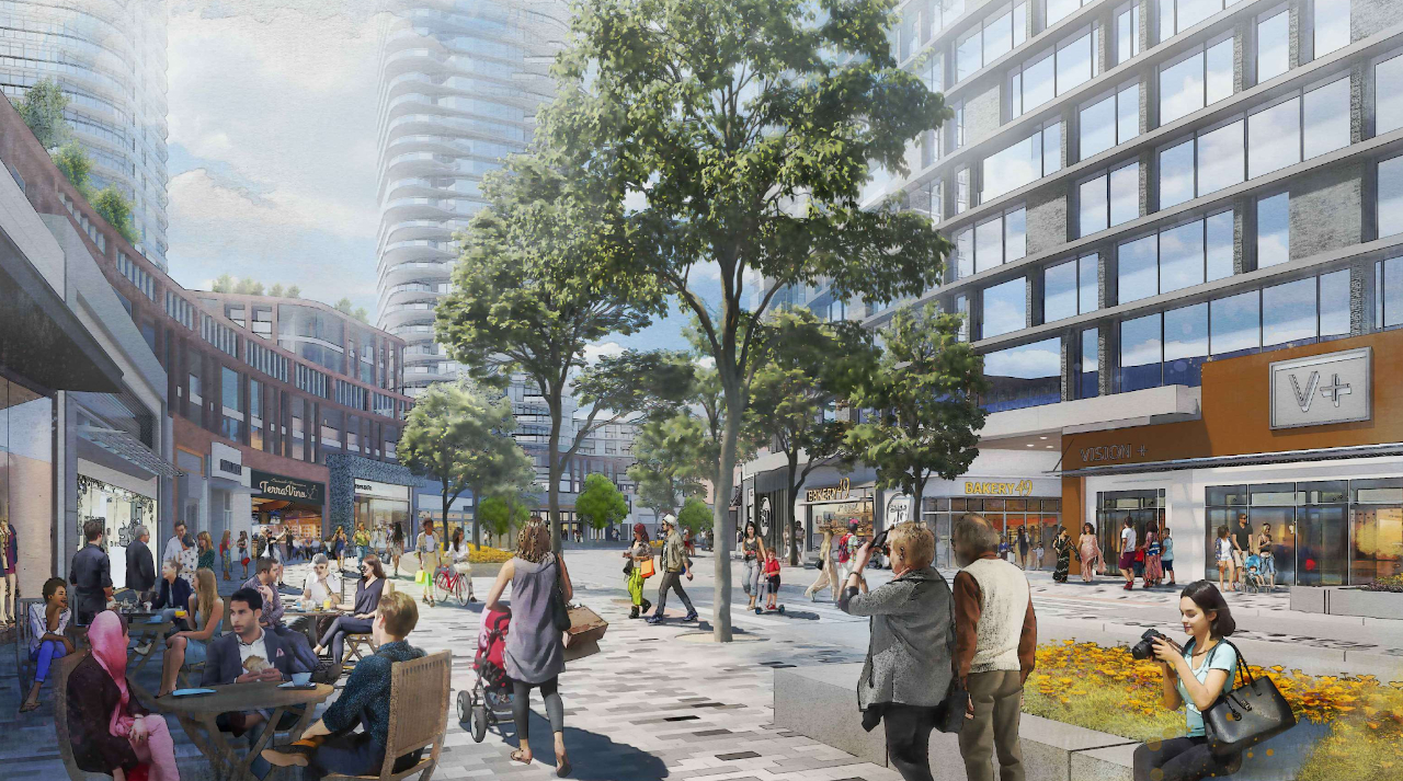 Rendering of 250 The East Mall Condos at the Cloverdale Mall Redevelopment Retail Main Street