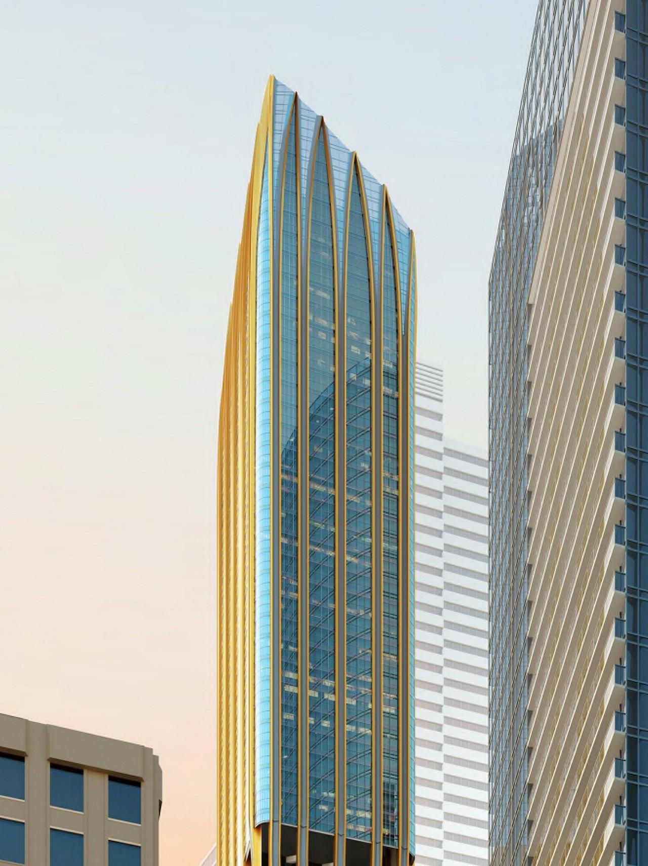 Rendering of 372 Yonge Condos building exterior top half.