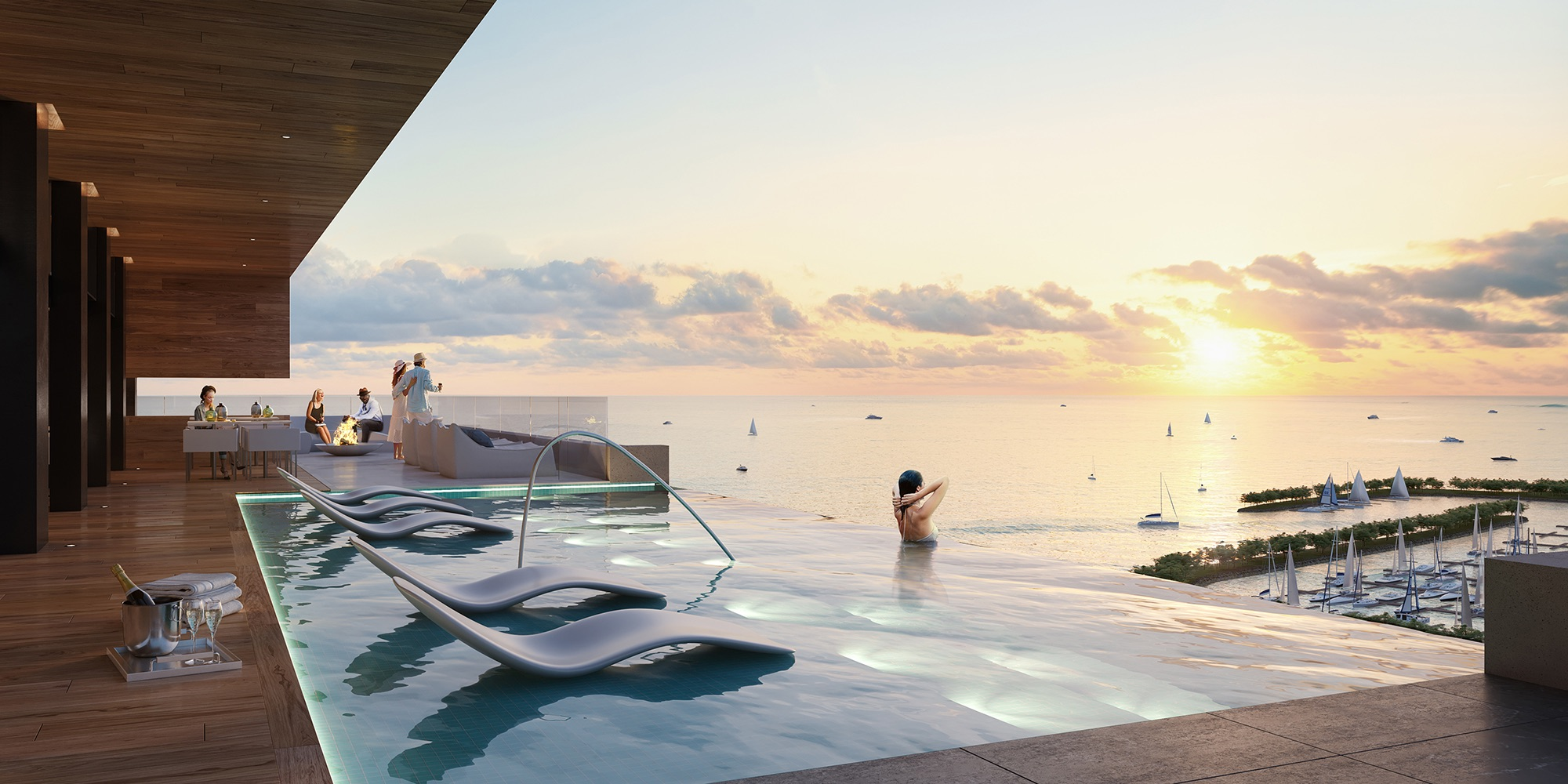 Rendering of Debut Waterfront Residences outdoor infinity swimming pool.