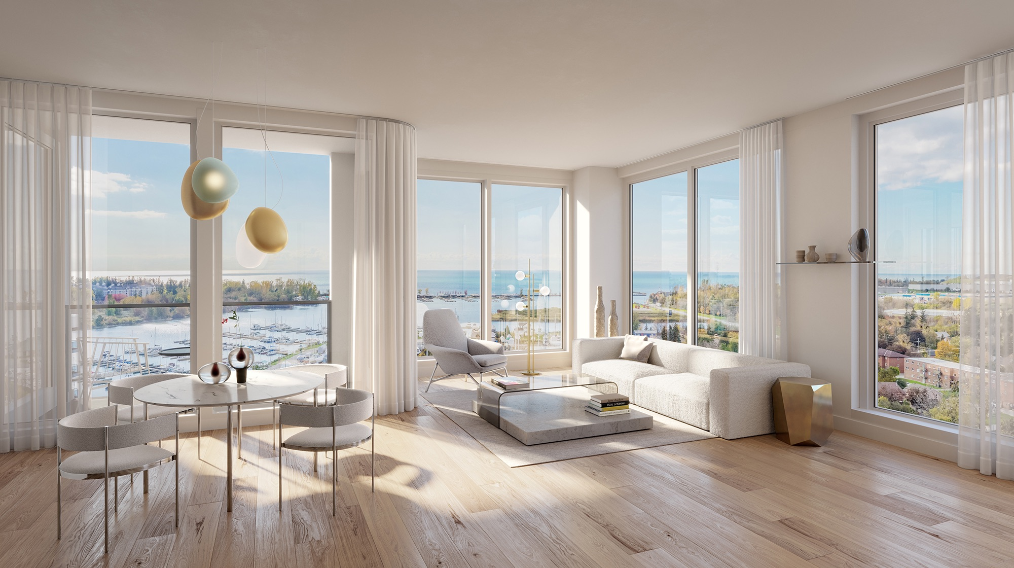 Rendering of Debut Waterfront Residences suite interior with waterfront views.