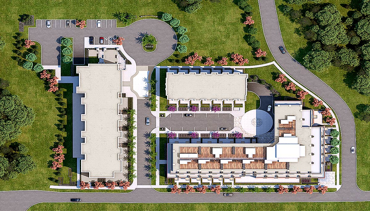 The Mill Landing condos aerial siteplan.