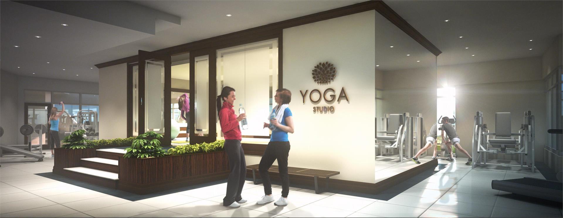 Rendering of Upper Vista Condos fitness centre with yoga studio.