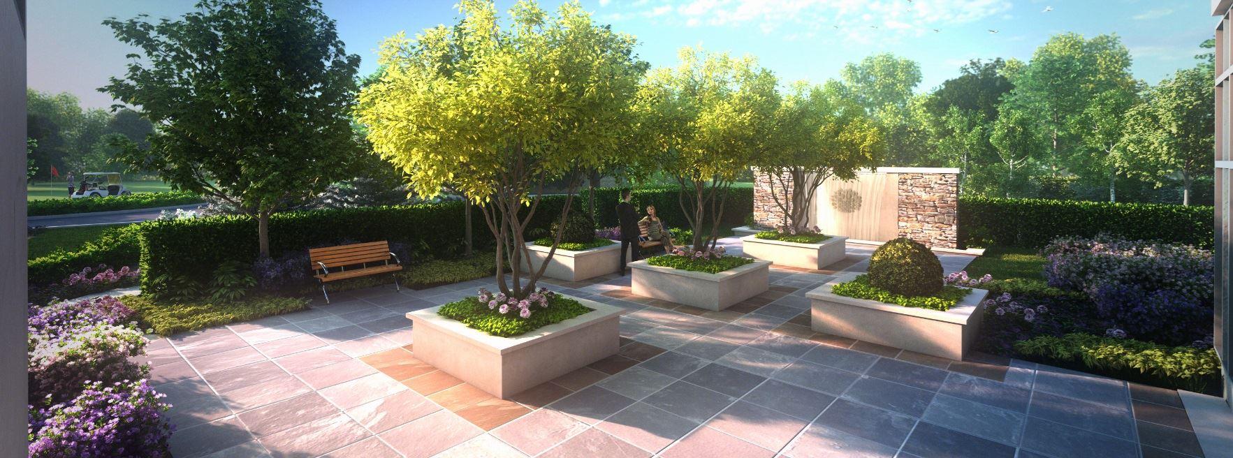 Exterior rendering of Upper Vista Condos garden.