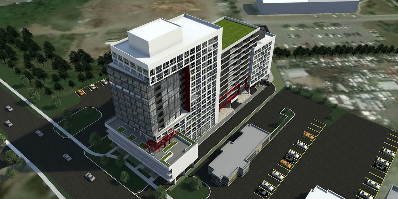 Aerial rendering of 2370 Finch West Condos exterior.