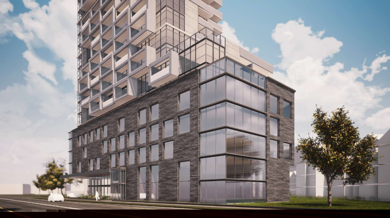 Exterior rendering of 290 Old Weston Road Condos podium with amenity and office space inside.