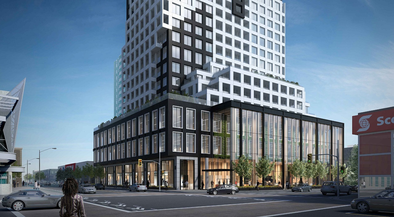 Exterior rendering of 334 Bloor Street West Condos streetscape.