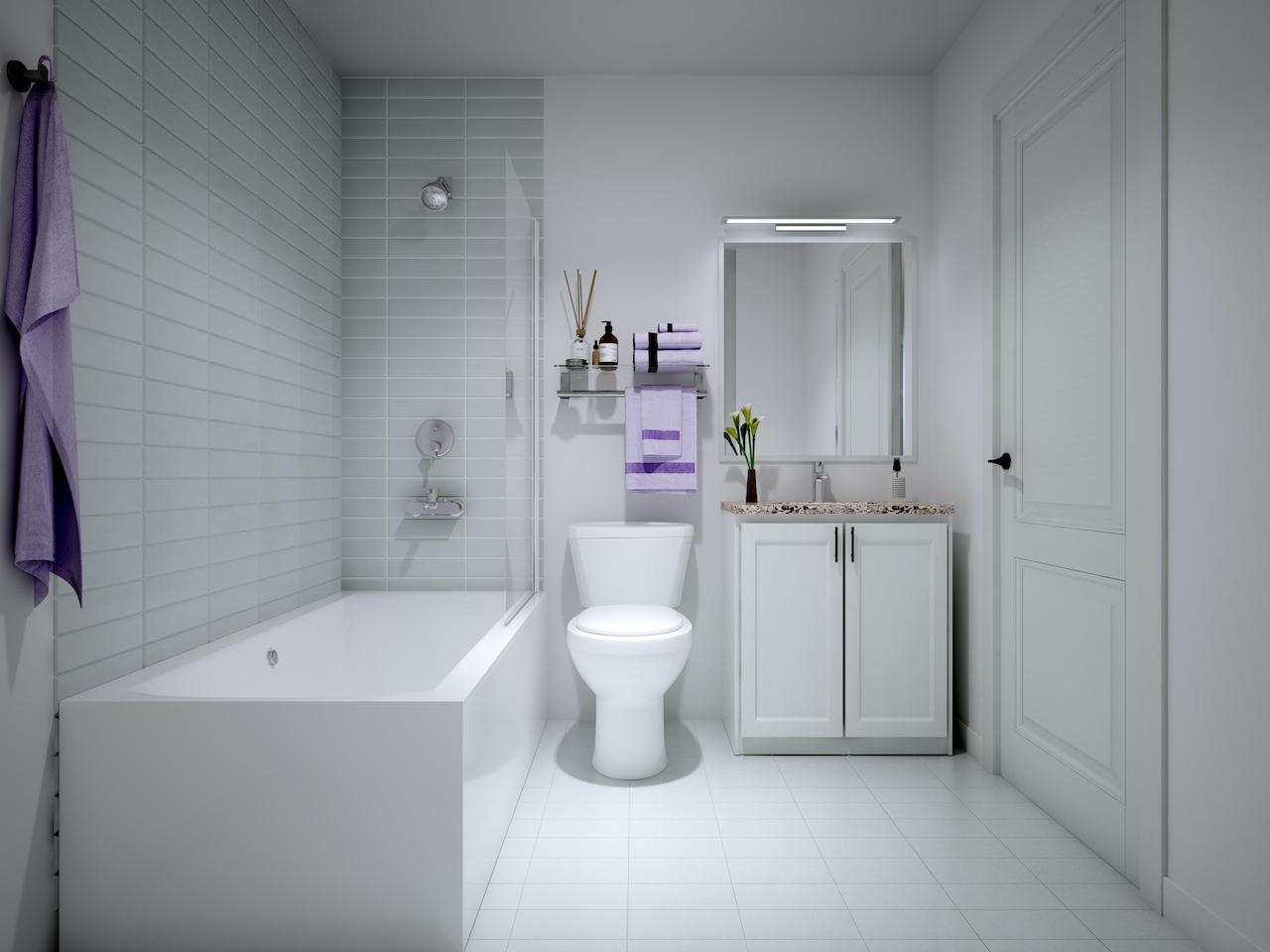 Rendering of NUVO Condos suite bathroom.
