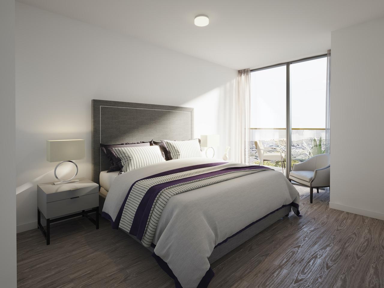 Rendering of NUVO Condos suite bedroom.