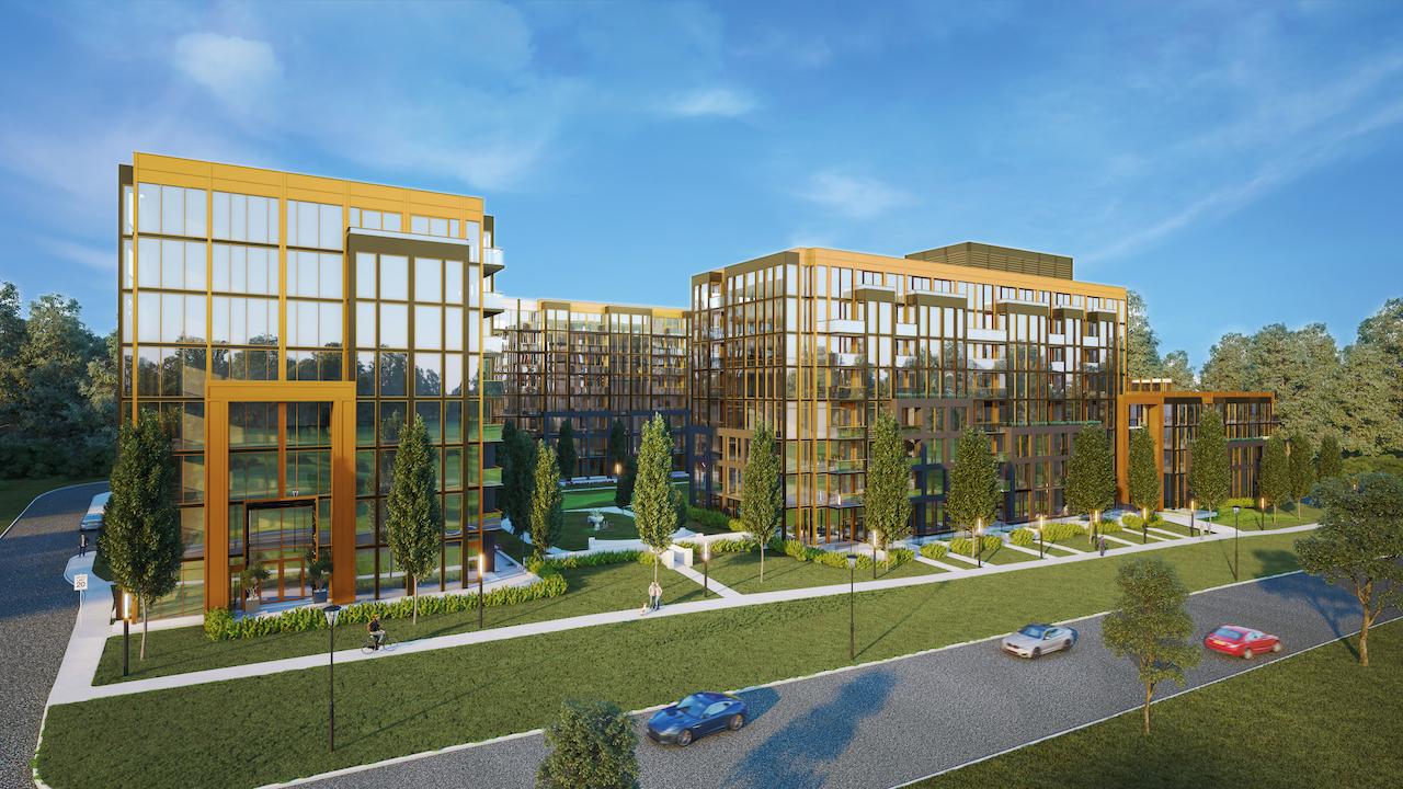 Rendering of NUVO Condos building exterior.